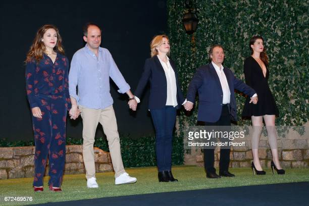 Actors of the piece Alysson Paradis and Lionel Abelanski Anne Jacquemin Daniel Russo and Alice Dessuant acknowledge the applause of the audience at...