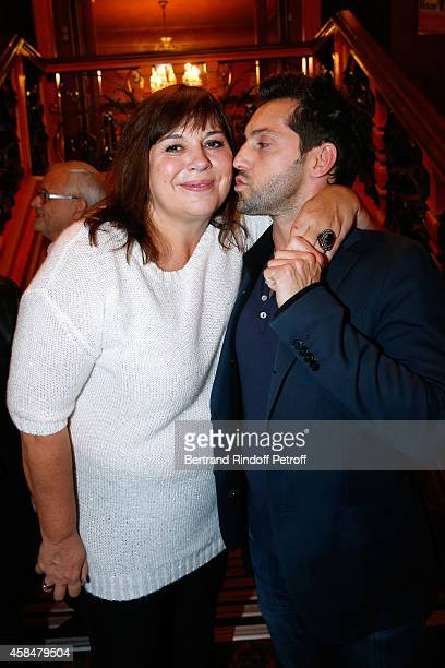Actors of the piece Michele Bernier and Frederic Diefenthal pose after the 150th Representation of the 'Je prefere qu'on reste amis' Theater Play at...