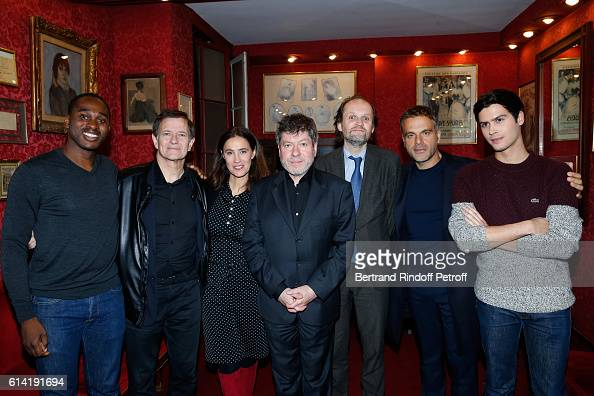 Actors of the piece Olivier Dote Doevi Francis Huster Odile Cohen Regis Laspales coowner of the Theater JeanMarc Dumontet Stage director of the Piece...