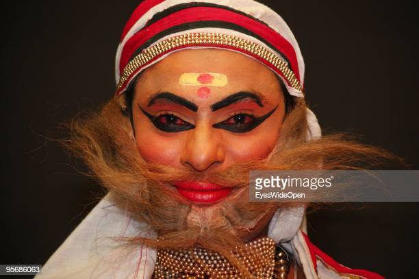 Actors of the traditional temple dance drama Kathakali on December 20 2009 in Varkala near Trivandrum Kerala South India Kathakali is one of South...