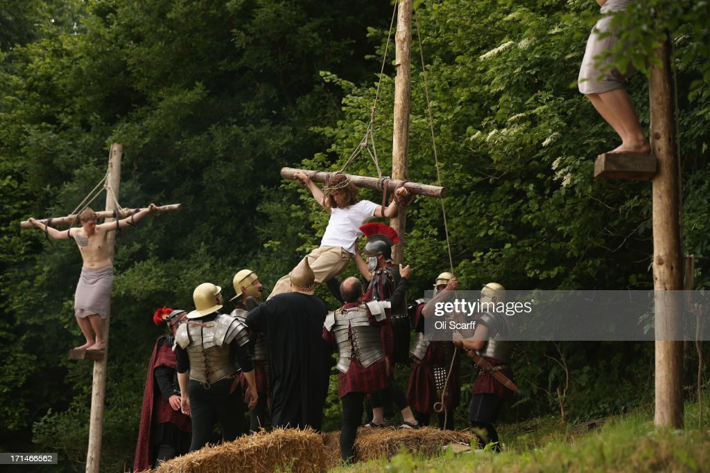 Actors of the Wintershall Players perform a rehearsal of the 'Life of Christ' on the Wintershall estate on June 24, 2013 in Bramley, England. The Wintershall Players are based on the estate and perform several biblical theatrical productions per year. Their performance of the 'Life of Christ' lasts 5 hours and will be performed on the Wintershall Estate every day from June 25, 2013 until June 30, 2013. It is acted over various sites spanning 25 acres and chronicles the Bible from the Annunciation to the Ascension. The production includes a cast of 200 actors, horses, sheep, donkeys and authentic costumes of Roman soldiers in the 12th Legion of the Roman Army.