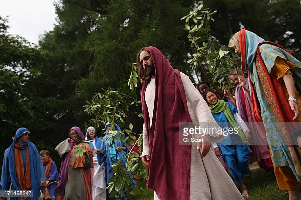Actors of the Wintershall Players perform a rehearsal of the 'Life of Christ' on the Wintershall estate on June 24 2013 in Bramley England The...