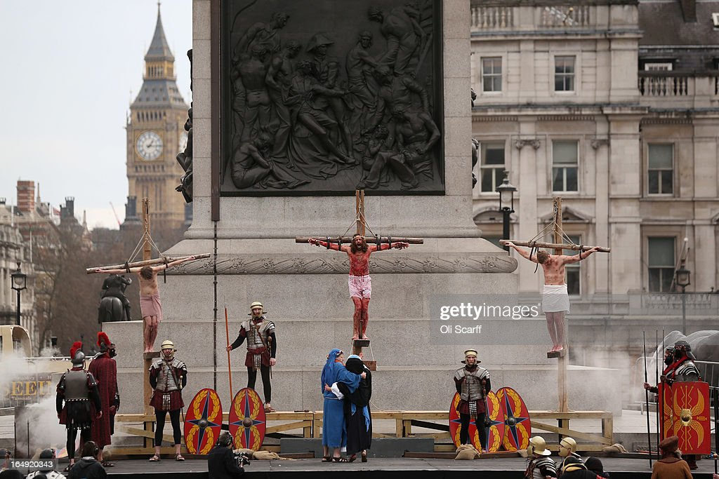 Actors of the Wintershall Players perform 'The Passion of Jesus' on Good Friday to crowds in Trafalgar Square on March 29, 2013 in London, England. The Wintershall Players are based on the Wintershall Estate in Surrey and perform several biblical theatrical productions per year. Their production of 'The Passion of Jesus' includes a cast of 78 actors, horses, a donkey and authentic costumes of Roman soldiers in the 12th Legion of the Roman Army.