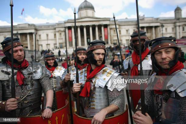 Actors of the Wintershall Players prepare to perform 'The Passion of Jesus' on Good Friday to crowds in Trafalgar Square on March 29 2013 in London...