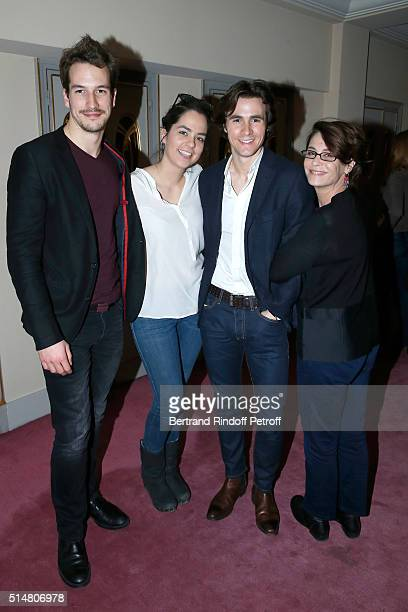 Actors of Theater Play 'Libres sont les papillons' Guillaume Beyeler Anouchka Delon her companion Julien Dereims and Nathalie Roussel attend the...