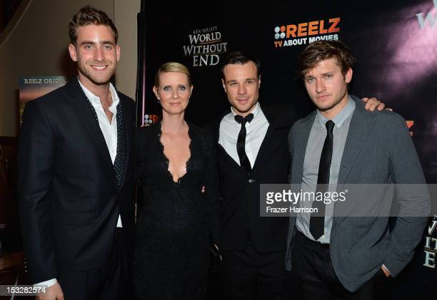 Actors Oliver JacksonCohen Cynthia Nixon Rupert Evans and Tom WestonJones attend the screening of 'World Without End' presented by ReelzChannel at...