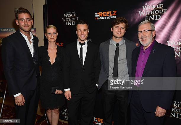 Actors Oliver JacksonCohen Cynthia Nixon Rupert EvansTom WestonJones and critic Leonard Maltin attend the screening of 'World Without End' presented...