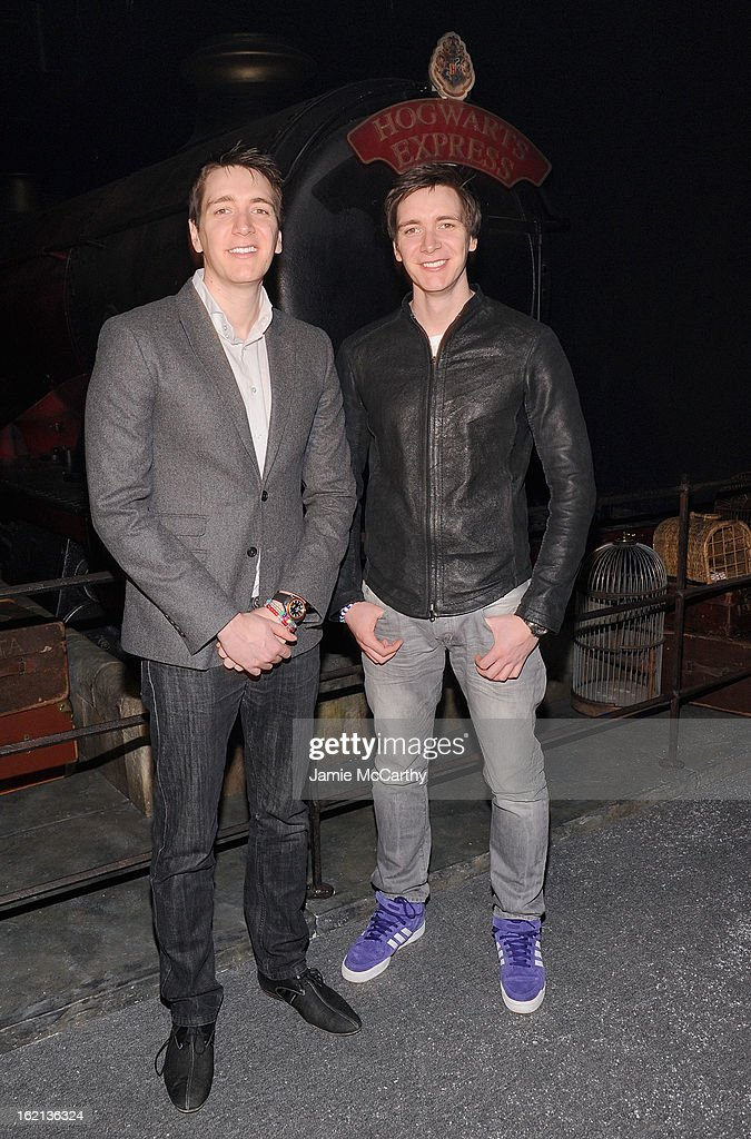 Actors <a gi-track='captionPersonalityLinkClicked' href=/galleries/search?phrase=Oliver+Phelps&family=editorial&specificpeople=810288 ng-click='$event.stopPropagation()'>Oliver Phelps</a> and <a gi-track='captionPersonalityLinkClicked' href=/galleries/search?phrase=James+Phelps&family=editorial&specificpeople=810289 ng-click='$event.stopPropagation()'>James Phelps</a> visit The Harry Potter Exhibit at Discovery Times Square on February 19, 2013 in New York City.