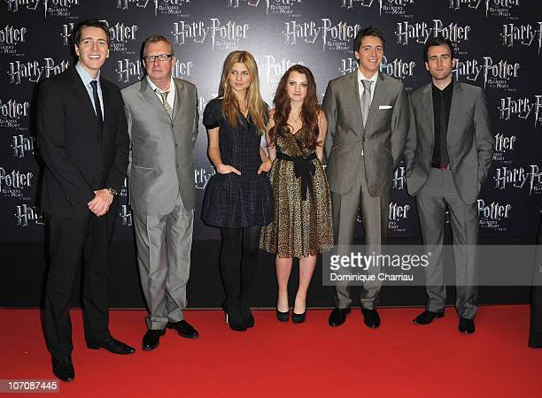 Actors Oliver Phelps Mark Williams Clemence Poesy Evanna Lynch James Phelps and Matt Lewis pose as they attend 'Harry Potter And The Deathly Hallows...