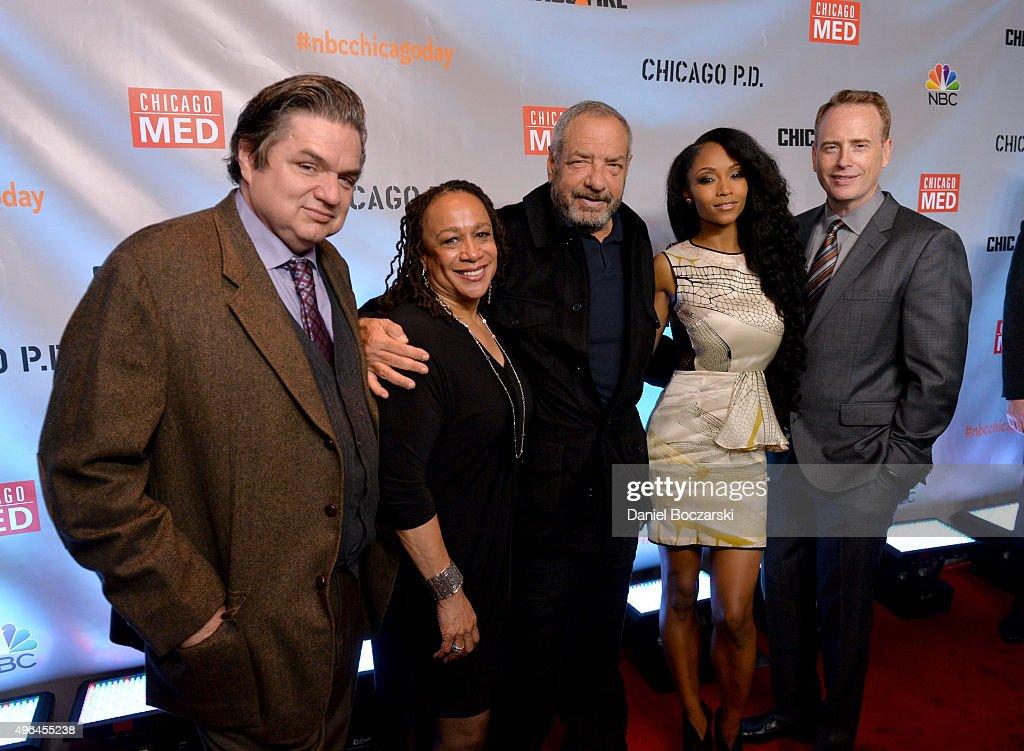 Actors Oliver Platt S Epatha Merkerson Executive Producer Dick Wolf actress Yaya DaCosta and NBC Entertainment chairman Robert Greenblatt attend a...