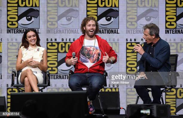 Actors Olivia Cooke TJ Miller and Ben Mendelsohn attend the Warner Bros Pictures Presentation during ComicCon International 2017 at San Diego...
