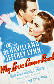 Actors Olivia de Havilland as Amelia Cornell and Jeffrey Lynn as Tony Baldwin on a poster for the Warner Bros film 'My Love Came Back' directed by...