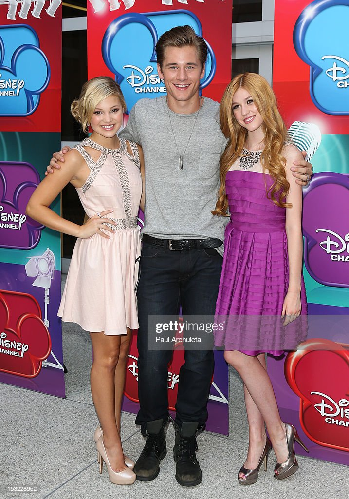 Actors <a gi-track='captionPersonalityLinkClicked' href=/galleries/search?phrase=Olivia+Holt&family=editorial&specificpeople=7563645 ng-click='$event.stopPropagation()'>Olivia Holt</a>, Luke Benward and <a gi-track='captionPersonalityLinkClicked' href=/galleries/search?phrase=Katherine+McNamara&family=editorial&specificpeople=6829207 ng-click='$event.stopPropagation()'>Katherine McNamara</a> attend the Disney Channel's 'Girl Vs. Monster' special screening at Walt Disney Studios on October 1, 2012 in Burbank, California.