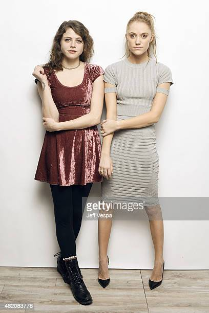 Actors Olivia Luccardi and Maika Monroe from 'It Follows' pose for a portrait at the Village at the Lift Presented by McDonald's McCafe during the...