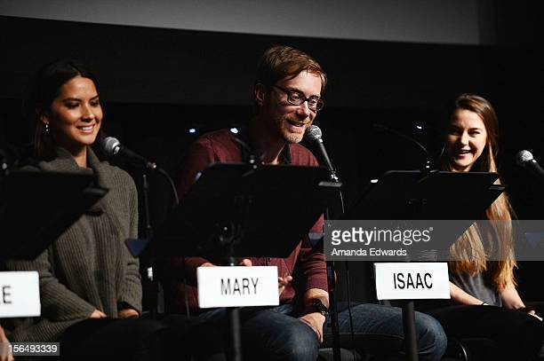 Actors Olivia Munn Stephen Merchant and Shailene Woodley attend the Film Independent at LACMA Live Read With Jason Reitman of Woody Allen's...
