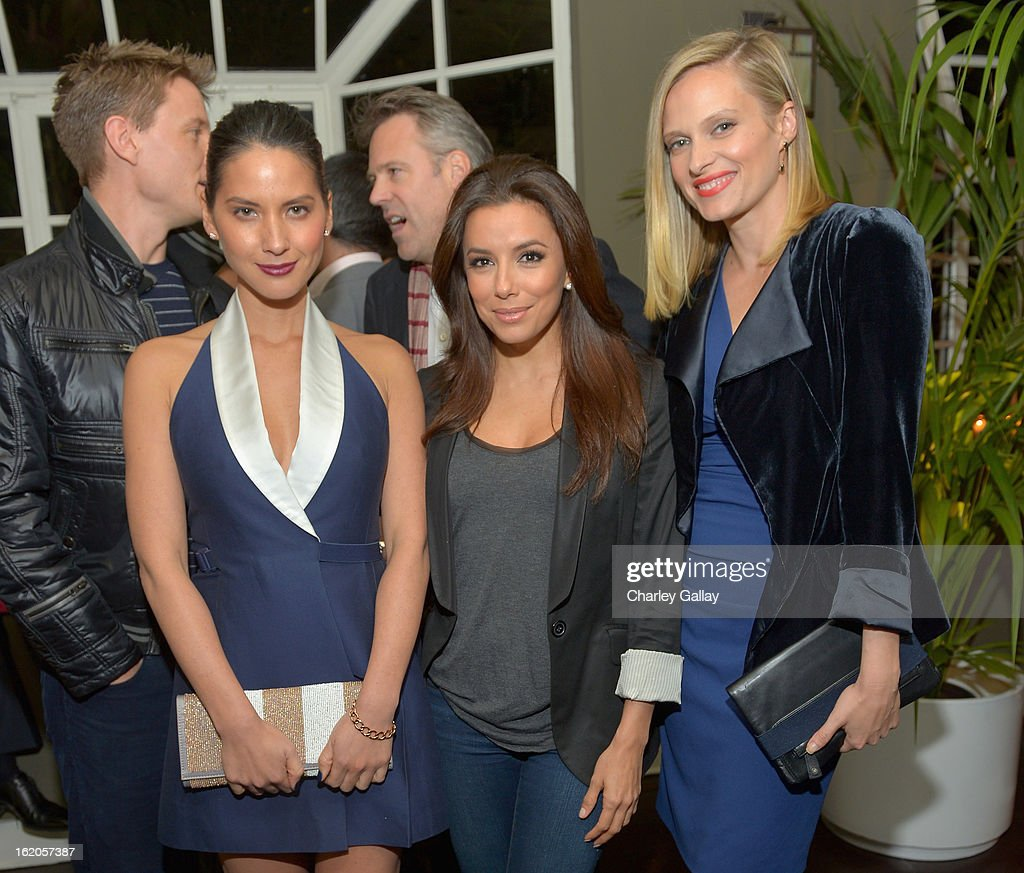 """Actors Olivia Munn wearing Juicy Couture, Eva Longoria and Vinessa Shaw attend Vanity Fair and Juicy Couture's Celebration of the 2013 """"Vanities"""" Calendar hosted by Vanity Fair West Coast Editor Krista Smith and actress Olivia Munn in support of the Regional Food Bank of Oklahoma, a member of Feeding America, at the Chateau Marmont on February 18, 2013 in Los Angeles, California."""