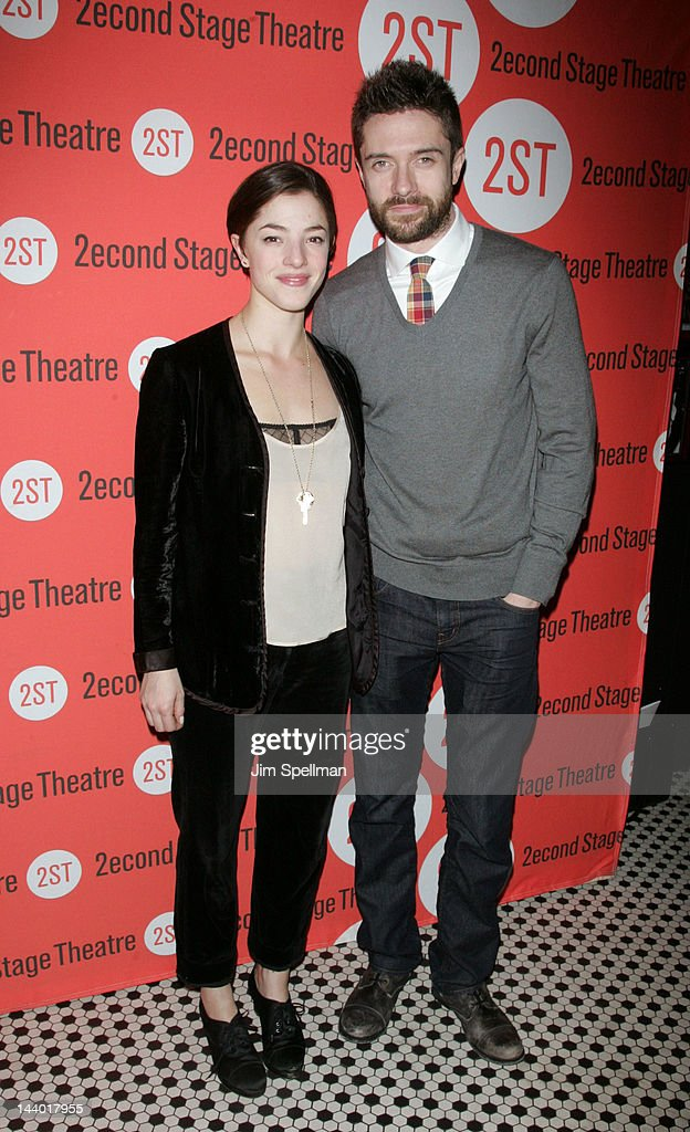 Actors <a gi-track='captionPersonalityLinkClicked' href=/galleries/search?phrase=Olivia+Thirlby&family=editorial&specificpeople=669904 ng-click='$event.stopPropagation()'>Olivia Thirlby</a> and <a gi-track='captionPersonalityLinkClicked' href=/galleries/search?phrase=Topher+Grace&family=editorial&specificpeople=203130 ng-click='$event.stopPropagation()'>Topher Grace</a> attend the 'Lonely, I'm Not' Off-Broadway opening night after party at the HB Burger on May 7, 2012 in New York City.