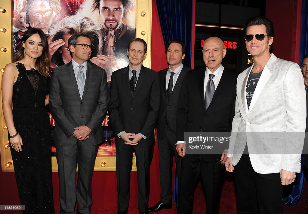 Actors Olivia Wilde, actor/producer Steve Carell, actors Steve Buscemi, Michael Herbig, Alan Arkin, and Jim Carrey attend the premiere of Warner Bros. Pictures' 'The Incredible Burt Wonderstone' at TCL Chinese Theatre on March 11, 2013 in Hollywood, California.