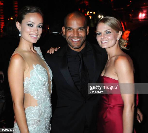 Actors Olivia Wilde Amaury Nolasco and Jennifer Morrison attend HBO's post Emmy Awards reception at the Pacific Design Center on September 20 2009 in...