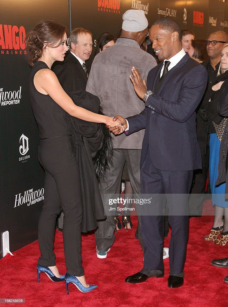 Actors Olivia Wilde and Jamie Foxx attend The Weinstein Company with The Hollywood Reporter, Samsung Galaxy & The Cinema Society screening of 'Django Unchained' at the Ziegfeld Theatre on December 11, 2012 in New York City.