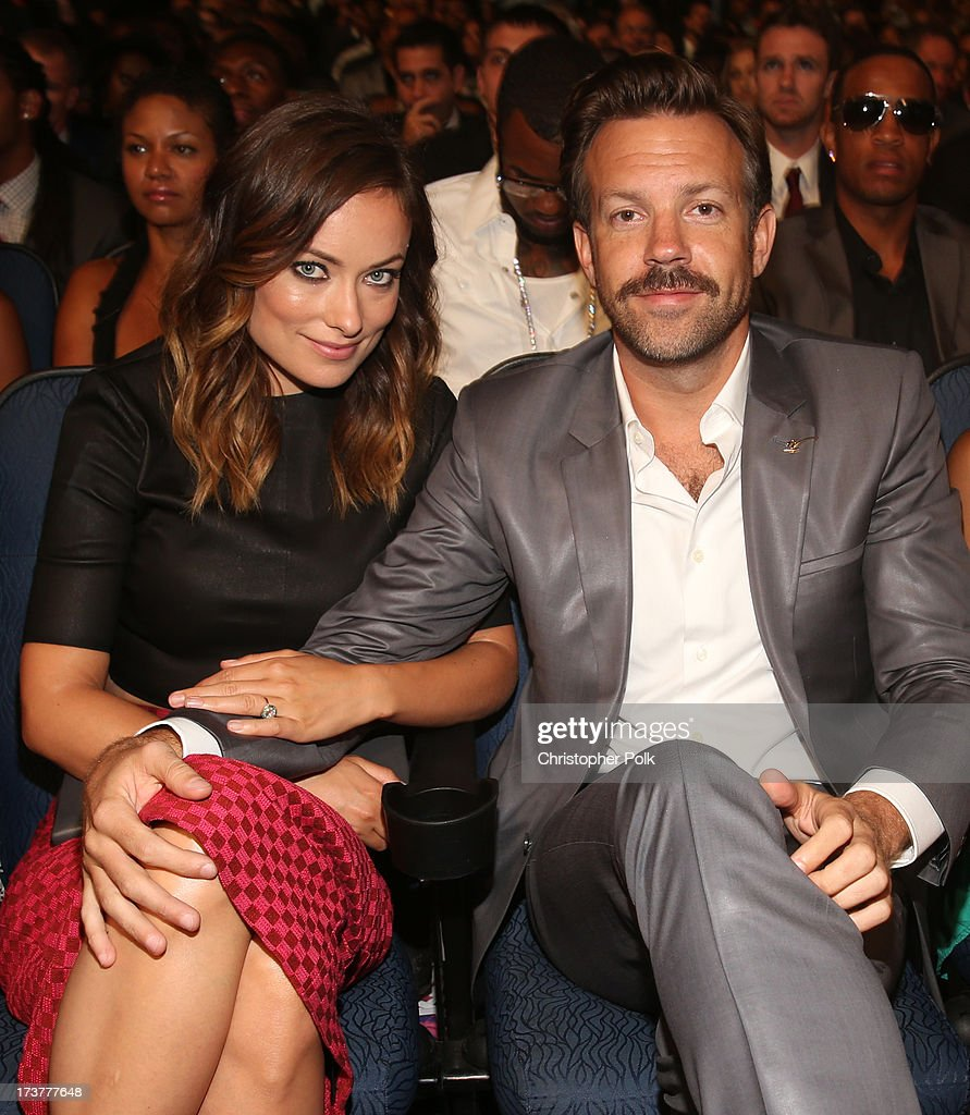 Actors Olivia Wilde (L) and Jason Sudeikis attend The 2013 ESPY Awards at Nokia Theatre L.A. Live on July 17, 2013 in Los Angeles, California.