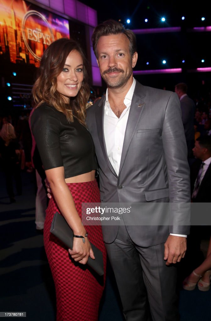 Actors <a gi-track='captionPersonalityLinkClicked' href=/galleries/search?phrase=Olivia+Wilde&family=editorial&specificpeople=235399 ng-click='$event.stopPropagation()'>Olivia Wilde</a> (L) and <a gi-track='captionPersonalityLinkClicked' href=/galleries/search?phrase=Jason+Sudeikis&family=editorial&specificpeople=4232997 ng-click='$event.stopPropagation()'>Jason Sudeikis</a> attend The 2013 ESPY Awards at Nokia Theatre L.A. Live on July 17, 2013 in Los Angeles, California.