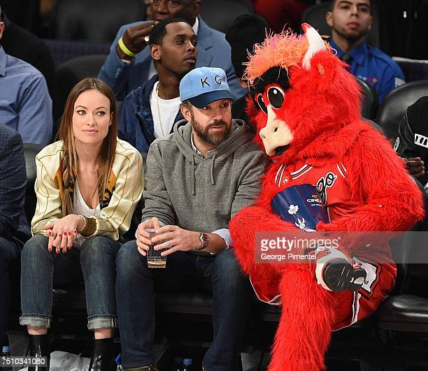 Actors Olivia Wilde and Jason Sudeikis attend the 2016 NBA AllStar Game at Air Canada Centre on February 14 2016 in Toronto Canada