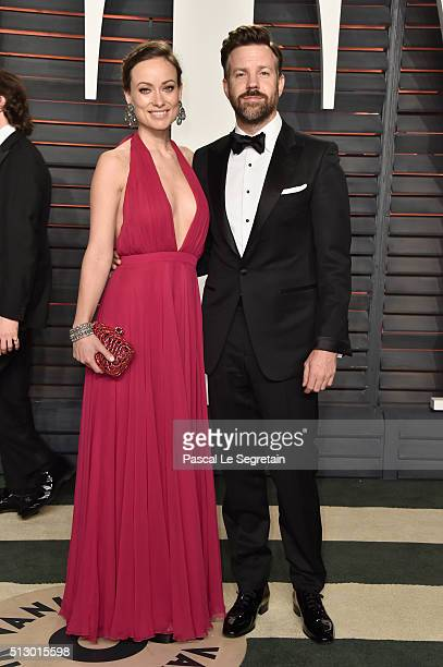 Actors Olivia Wilde and Jason Sudeikis attend the 2016 Vanity Fair Oscar Party Hosted By Graydon Carter at the Wallis Annenberg Center for the...