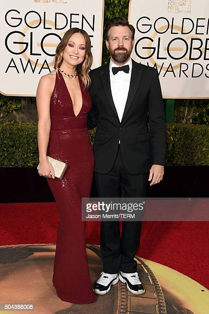 Actors Olivia Wilde and Jason Sudeikis attend the 73rd Annual Golden Globe Awards held at the Beverly Hilton Hotel on January 10 2016 in Beverly...