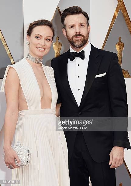 Actors Olivia Wilde and Jason Sudeikis attend the 88th Annual Academy Awards at Hollywood Highland Center on February 28 2016 in Hollywood California