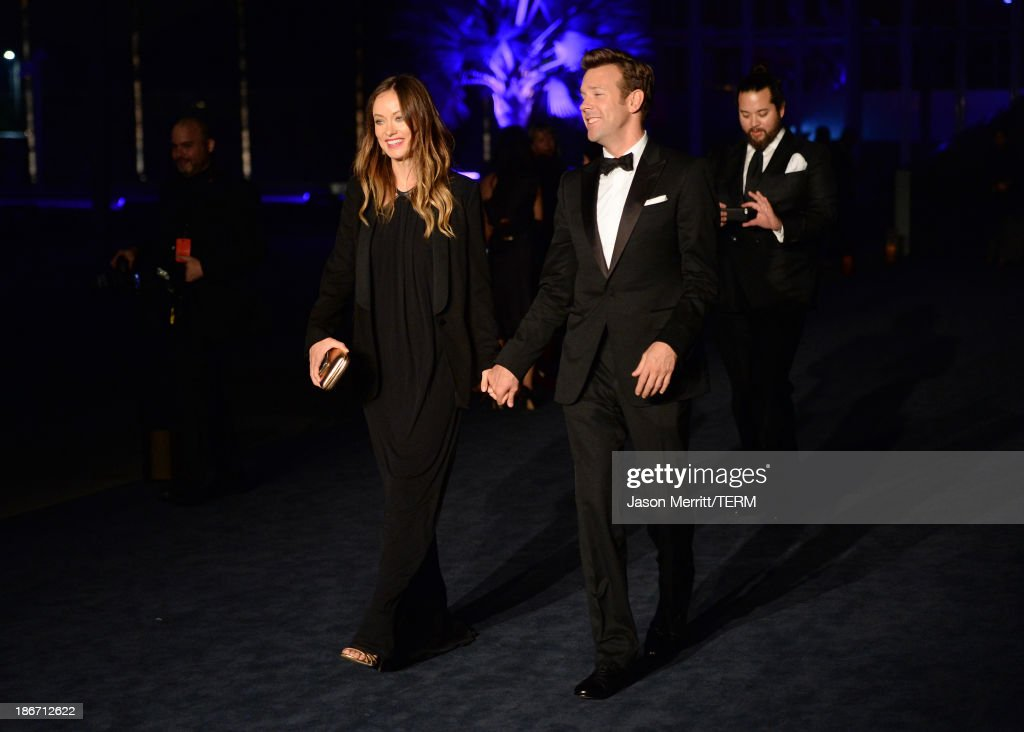 Actors <a gi-track='captionPersonalityLinkClicked' href=/galleries/search?phrase=Olivia+Wilde&family=editorial&specificpeople=235399 ng-click='$event.stopPropagation()'>Olivia Wilde</a> and <a gi-track='captionPersonalityLinkClicked' href=/galleries/search?phrase=Jason+Sudeikis&family=editorial&specificpeople=4232997 ng-click='$event.stopPropagation()'>Jason Sudeikis</a> attend the LACMA 2013 Art + Film Gala honoring Martin Scorsese and David Hockney presented by Gucci at LACMA on November 2, 2013 in Los Angeles, California.