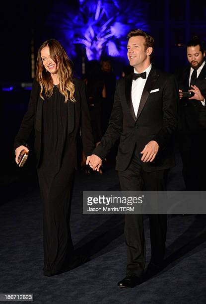 Actors Olivia Wilde and Jason Sudeikis attend the LACMA 2013 Art Film Gala honoring Martin Scorsese and David Hockney presented by Gucci at LACMA on...