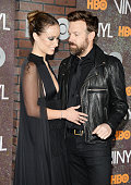 Actors Olivia Wilde and Jason Sudeikis attend the New York premiere of 'Vinyl' at Ziegfeld Theatre on January 15 2016 in New York City