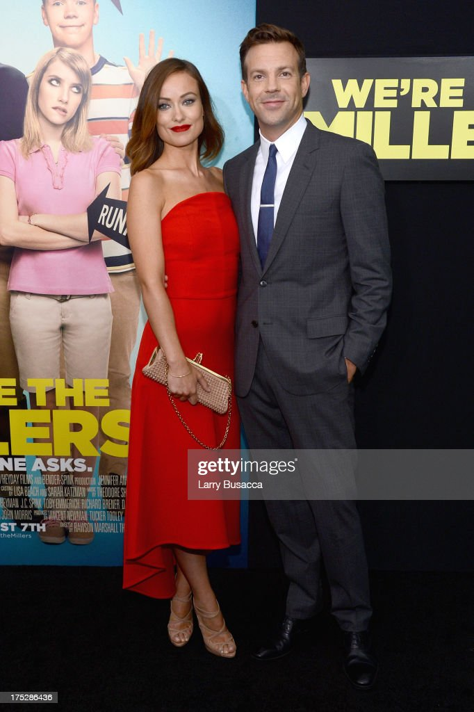 Actors Olivia Wilde (L) and Jason Sudeikis attend the 'We're The Millers' New York Premiere at Ziegfeld Theater on August 1, 2013 in New York City.