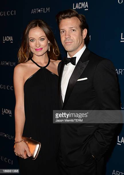 Actors Olivia Wilde and Jason Sudeikis wearing Gucci attend the LACMA 2013 Art Film Gala honoring Martin Scorsese and David Hockney presented by...