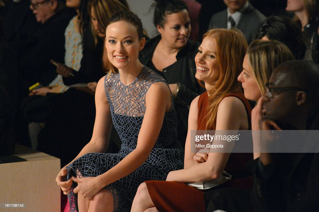 Actors <a gi-track='captionPersonalityLinkClicked' href=/galleries/search?phrase=Olivia+Wilde&family=editorial&specificpeople=235399 ng-click='$event.stopPropagation()'>Olivia Wilde</a> and <a gi-track='captionPersonalityLinkClicked' href=/galleries/search?phrase=Jessica+Chastain&family=editorial&specificpeople=653192 ng-click='$event.stopPropagation()'>Jessica Chastain</a> attend the Calvin Klein Collection Fall 2013 fashion show during Mercedes-Benz Fashion Week at 205 West 39th Street on February 14, 2013 in New York City.