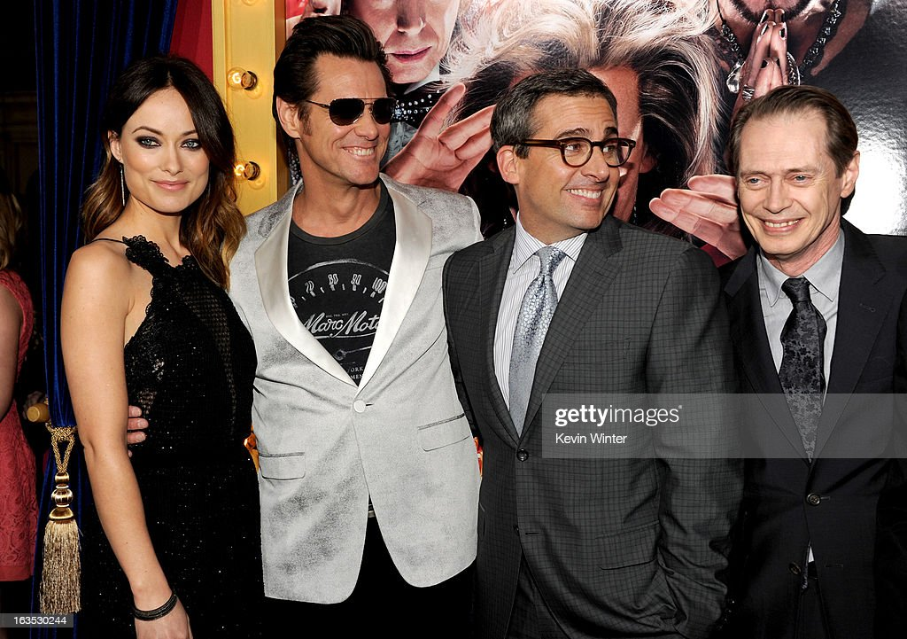 Actors Olivia Wilde, Jim Carrey, actor/producer Steve Carell, and actor Steve Buscemi attend the premiere of Warner Bros. Pictures' 'The Incredible Burt Wonderstone' at TCL Chinese Theatre on March 11, 2013 in Hollywood, California.