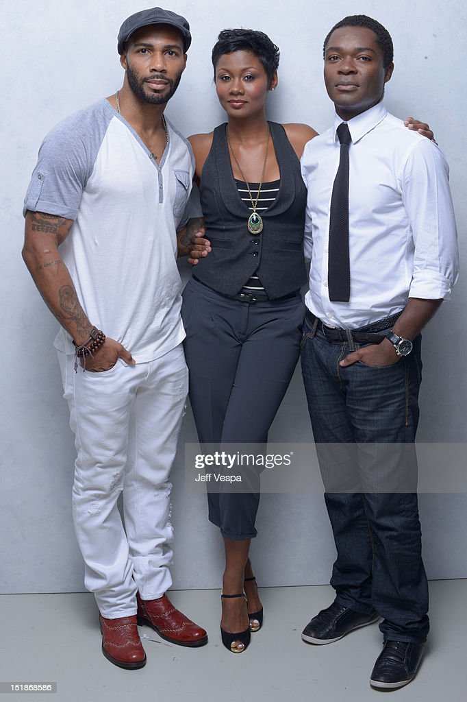 Actors Omari Hardwick, Emayatzy Corinealdi and David Oyelowo of 'Middle of Nowhere' pose at the Guess Portrait Studio during 2012 Toronto International Film Festival on September 12, 2012 in Toronto, Canada.