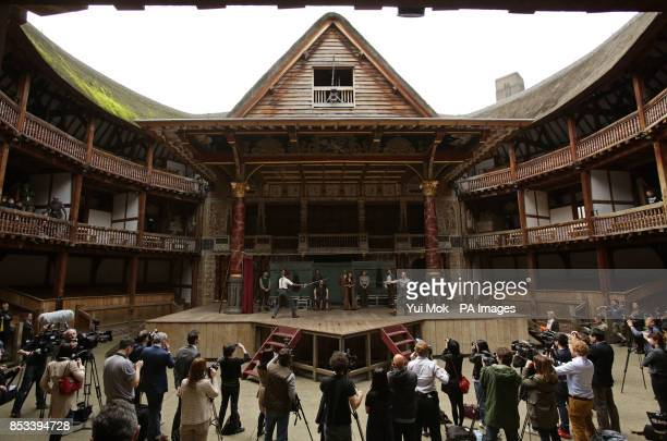 Actors on stage performing a scene from the play at the launch of Shakespeare's Globe Theatre's twoyear world tour of Hamlet to mark the 450th...