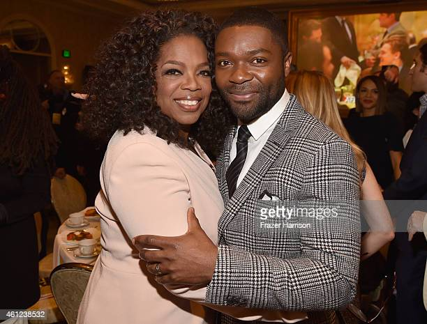 Actors Oprah Winfrey and David Oyelowo attend the 15th Annual AFI Awards Luncheon at Four Seasons Hotel Los Angeles at Beverly Hills on January 9...