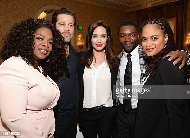 Actors Oprah Winfrey Brad Pitt Angelina Jolie David Oyelowo and director Ava DuVernay attend the 15th Annual AFI Awards Luncheon at Four Seasons...