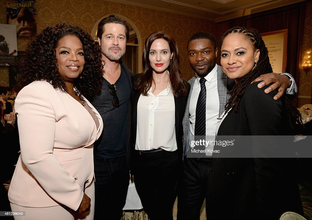 Actors Oprah Winfrey, Brad Pitt, Angelina Jolie, David Oyelowo and director Ava DuVernay attend the 15th Annual AFI Awards Luncheon at Four Seasons Hotel Los Angeles at Beverly Hills on January 9, 2015 in Beverly Hills, California.
