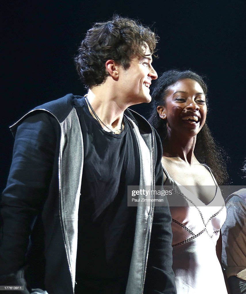 Actors Orlando Bloom and Condola Rashad during curtain call at 'Romeo And Juliet' On Broadway First Performance at the Richard Rodgers Theatre on August 24, 2013 in New York City.