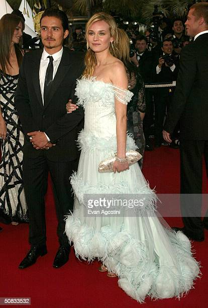 Actors Orlando Bloom and Diane Kruger who is wearing Chopard jewelry attend the World Premiere of the epic movie 'Troy' at Le Palais de Festival May...
