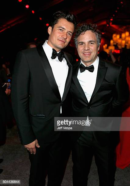Actors Orlando Bloom and Mark Ruffalo attend The Weinstein Company and Netflix Golden Globe Party presented with DeLeon Tequila Laura Mercier Lindt...