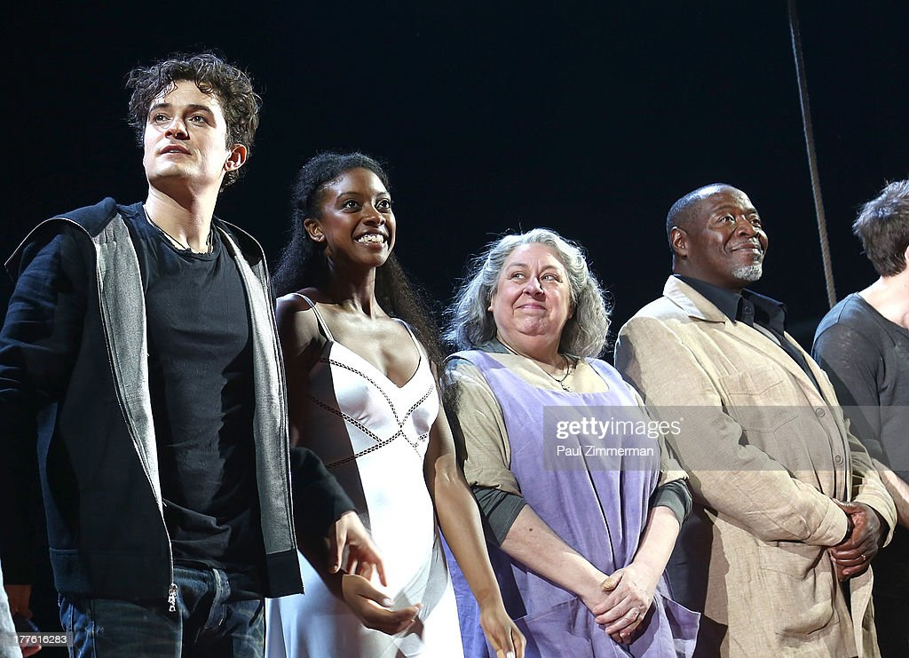 Actors Orlando Bloom, Condola Rashad and Jayne Houdyshell during curtain call at 'Romeo And Juliet' On Broadway First Performance at the Richard Rodgers Theatre on August 24, 2013 in New York City.