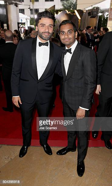 Actors Oscar Isaac and Aziz Ansari attend the 73rd Annual Golden Globe Awards held at the Beverly Hilton Hotel on January 10 2016 in Beverly Hills...