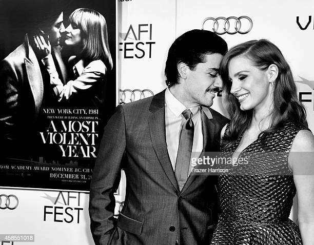Actors Oscar Isaac and Jessica Chastain attend AFI FEST 2014 Presented By Audi Opening Night Gala Premiere Of A24's 'A Most Violent Year' at Dolby...