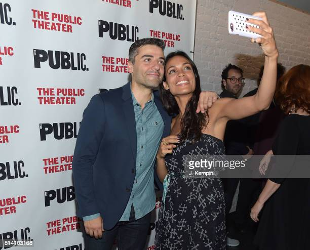 Actors Oscar Isaac and Rosario Dawson attend 'Hamlet' Opening Night at The Public Theater on July 13 2017 in New York City