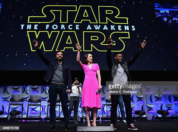 Actors Oscar Isaac Daisy Ridley and John Boyega speak onstage during Star Wars Celebration 2015 on April 16 2015 in Anaheim California